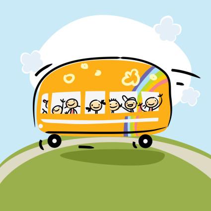School bus, preschool kids transportation vector illustration. C