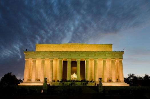 Lincoln Memorial at night, Washington DC USA